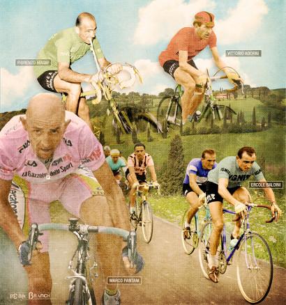 Fiorenzo Magni, Vittorio Adorni, Marco Pantani, Ercole Baldini