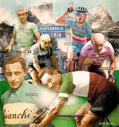 Franco Balmion, VIncenzo Nibali, Luigi Marchisio, Mario Pantani, Fausto Coppi, Costante Girardengo